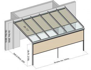 Terrassendach Classic-Line mit Traverse und wandseitigen Stützen