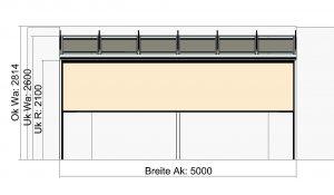 Terrassendach Classic-Line mit Traverse und wandseitigen Stützen - Vorderansicht