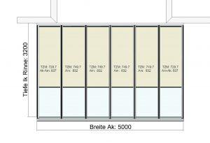 Terrassendach Classic-Line mit Traverse und wandseitigen Stützen - Draufsicht