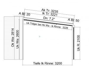 Terrassendach Classic-Line mit Traverse und wandseitigen Stützen - Seitenansicht