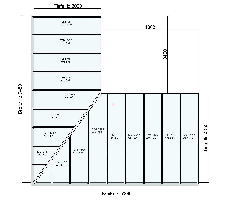 Eck-Terrassendach TerraSmart Classic-Line Draufsicht