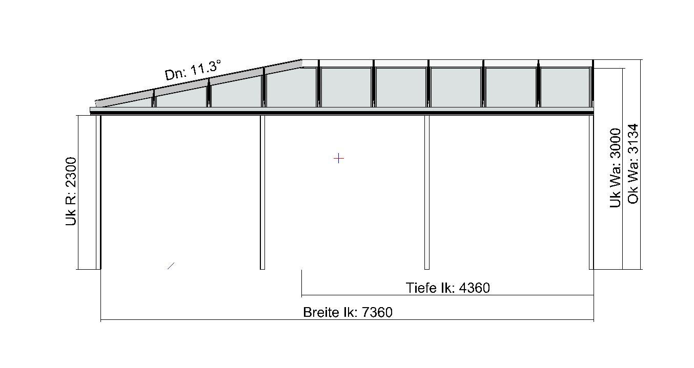 Eck-Terrassendach TerraSmart Classic-Line Vorderansicht