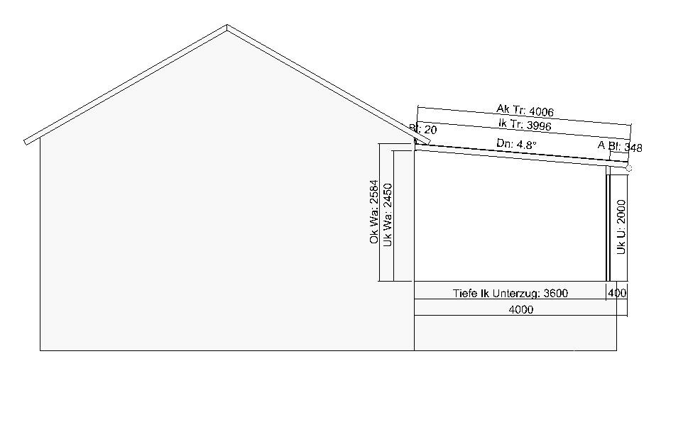 Terrassendach Planung, Zeichnungen