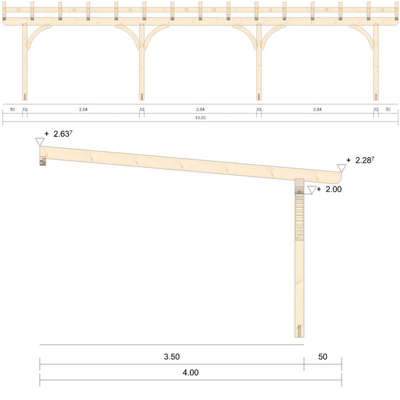 Holz-Terrassenüberdachung - 10m Breite