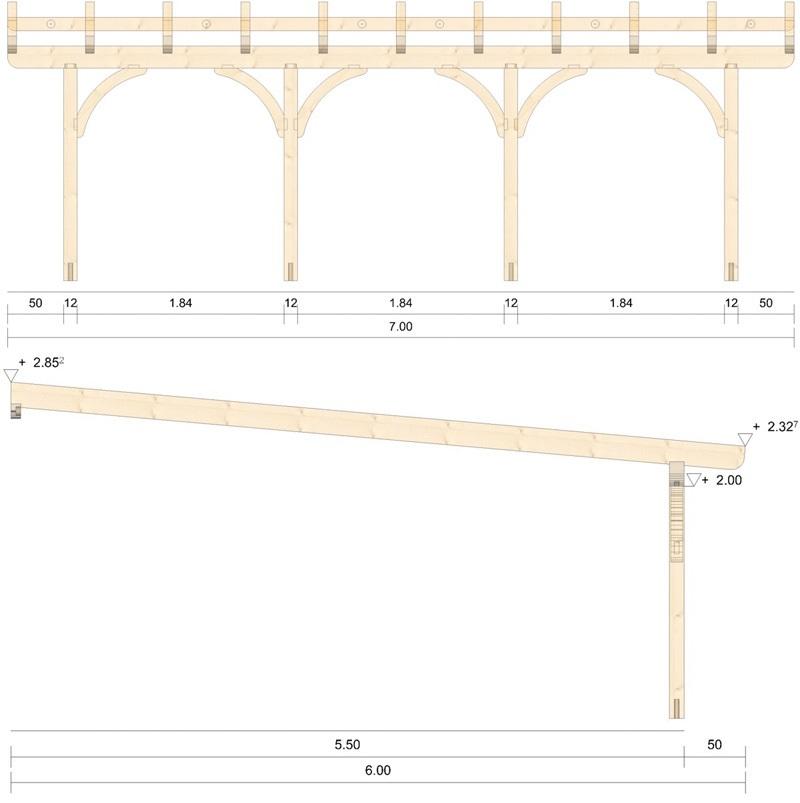Holz Terrassenüberdachung 7m Breite