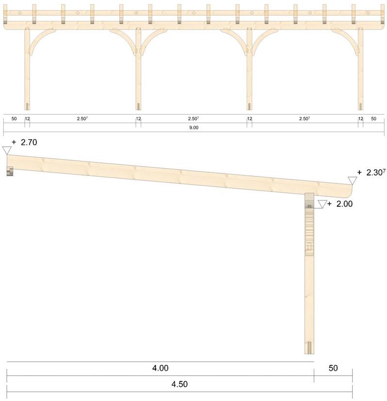 Holz Terrassenüberdachung 9m Breite